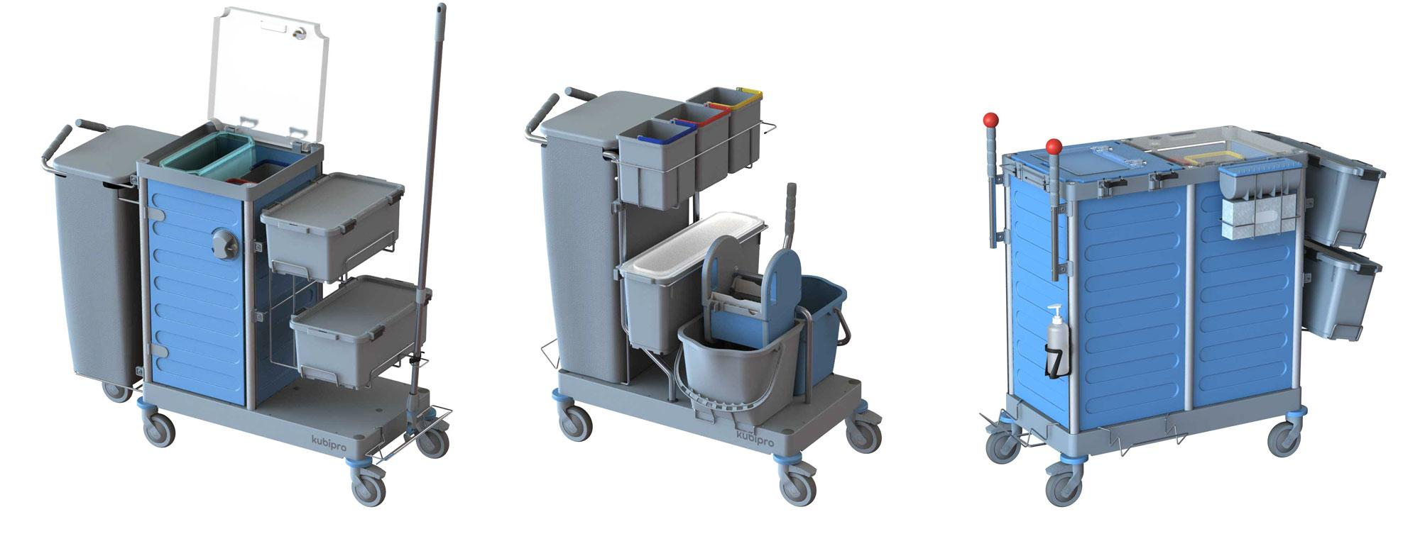 Kubi trolleys can be set up and customized with their specific accessories.