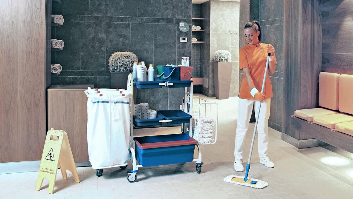 Floor washing with Rapid flat system